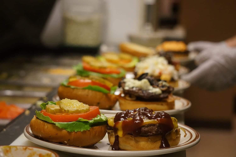 hamburgers on buns