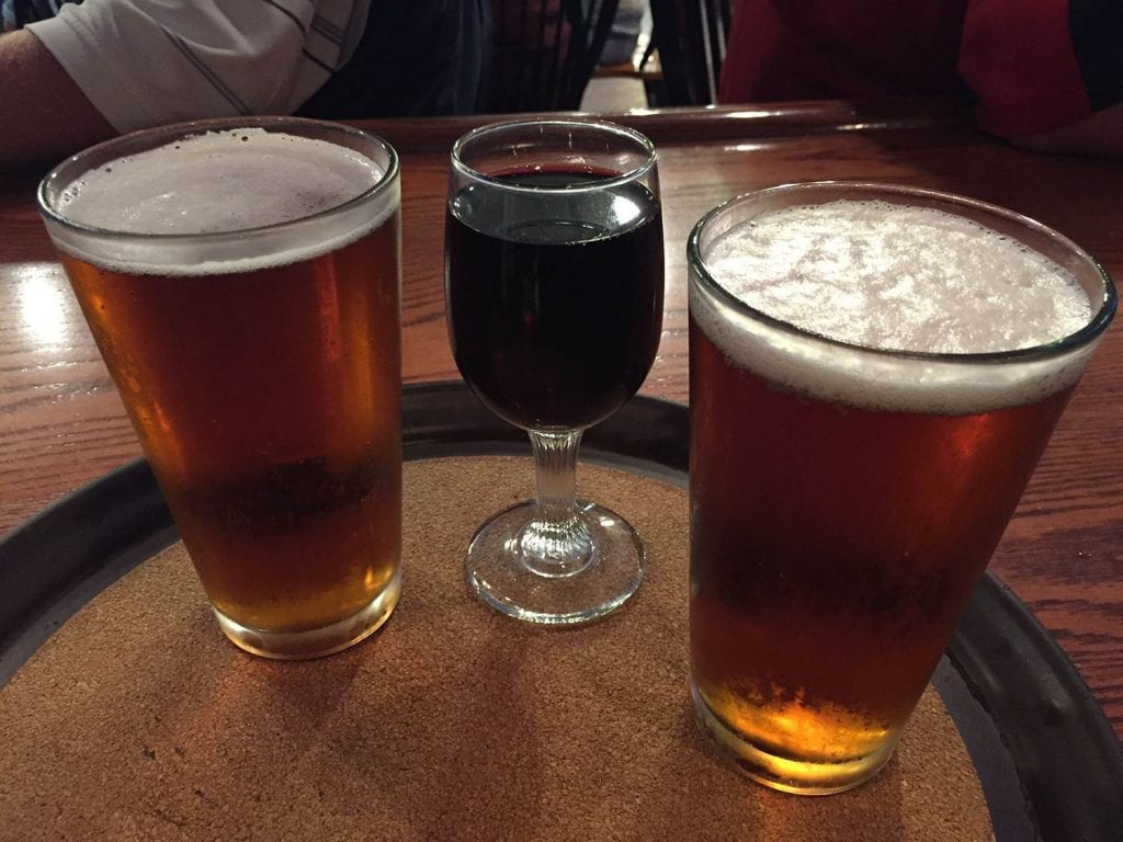 beer and wine in glasses
