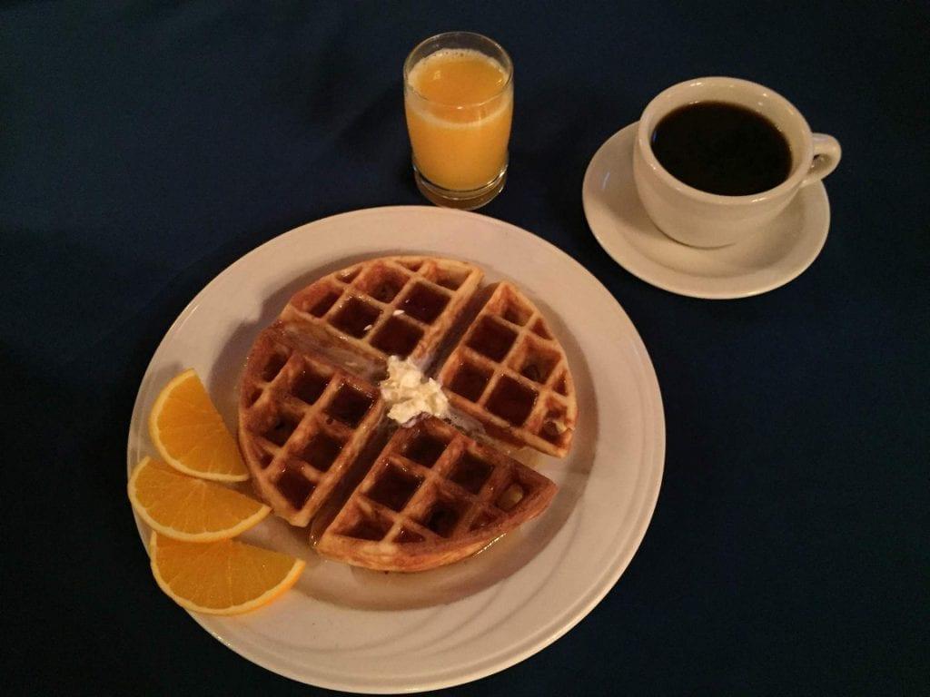 waffle with coffee and orange juice